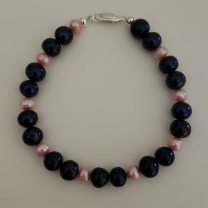 Jewelry - Fresh Water Pearl Bracelet - Dark Blue and Pink